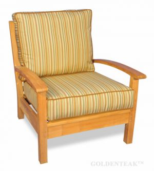 BUNDLE Teak Deep Seating Club Chair, Chappy Collection with Cushion