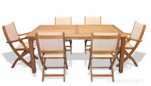 Teak Patio Dining Set for 6, Rect Table and 6 Cream Sling Chairs
