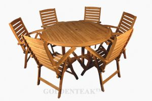 Teak Dining Set, 60 in Round Table, 6 Teak Recliner Chairs