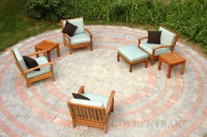 Goldenteak Teak Deep Seating Club Chairs, Ottoman and Teak End Table (MA)