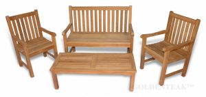 Block Island Bench Seating Teak Conversation Set