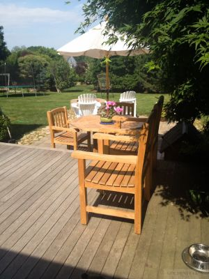 Teak Patio Set And Bench - Goldenteak Customer Photos