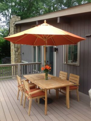 Teak Patio Set Sutton Table and 4 Stacking Chairs - customer photo