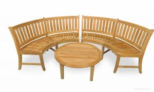 Teak Curved Bench Pair and Coffee Table Set