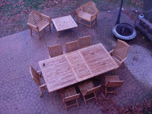 Teak Patio Set Photo - extension table, teak folding chairs
