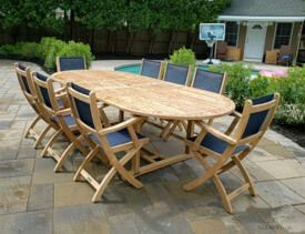 Teak Dining Set for 8 - Double Extension Table and Teak Prividence Chairs.