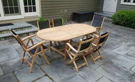 Teak Dining Set , expandable oval table, 2 Recliner Chairs and 4 Providence chairs with Black Sling Fabric