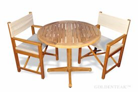 Teak Patio Set, Pedestal Table and 2 Directors Chairs