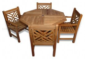 Teak Dining Set, Octagon Table 48 inch, 4 Chippendale  Dining Chairs