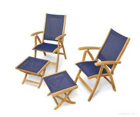 Teak Recliner and Footstool Pair - Navy