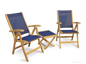 Teak Recliner Set Navy - two recliner chairs and one end table