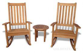 Teak Porch Rocking Chair Set