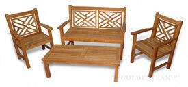 Teak Bench Seating Chippendale Conversation Set