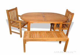 Teak Outdoor Dining Set, Oval table,  2 benches, two armchairs