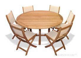 Teak Outdoor Dining Set 60in round table and 6 sling chairs cream