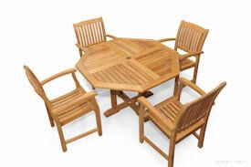 Teak Dining Set Octagon Table (52 in D), 4 Teak Millbrook Chairs
