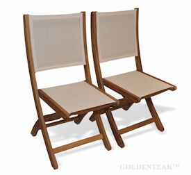 Teak Folding Providence Chair no arms Cream Batyline Sling Fabric