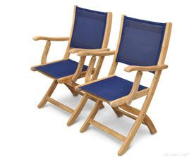 Teak Folding  Providence Chair with Sling Batyline Navy Fabric PAIR