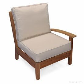 Teak Deep Seating LEFT unit with cushion - Belvedere Collection