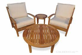 Teak Deep Seating Round Coffee Table set