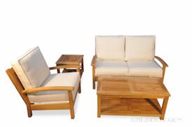Teak Deep Seating Conversation Set with Loveseat, Coffee Table, End Table
