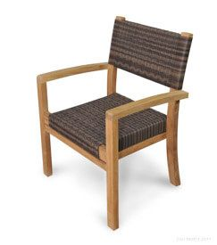 Teak And Wicker Stacking ARM Chair - Westport Harbor (Set of 4)