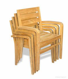 Set of 4 Teak Ventura Stacking Chairs