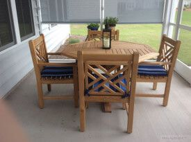 Teak Outdoor Dining Set Chippendale - Customer Photo Goldenteak
