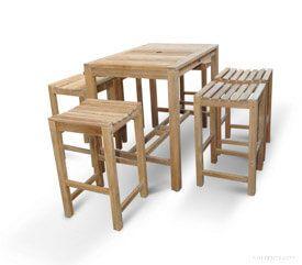 Teak Bar Height Dining Set for 6 - Teak Outdoor Dining - Goldenteak