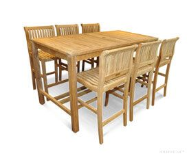 Teak Bar Height Dining Set for 6 to 8 - Hyannis Collection, Goldenteak