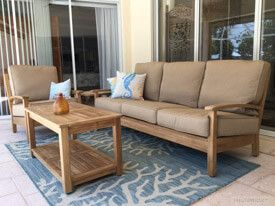 Teak Deep Seating Conversation Set on Porch - Customer Photo