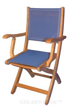 Teak Providence Chair PAIR SLing Fabric Color BLUE