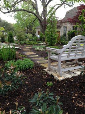 Goldenteak Teak Lutyens and Chippendale Bench lush garden - customer photo