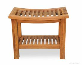 Teak Shower Bench Regency 17H X 12D X 20W