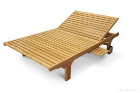 Teak Double Chaise Lounge with Wheels and Tray - Goldenteak