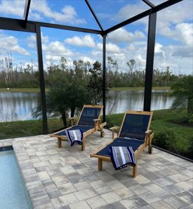 Teak and Sling Chaise Lounge Navy - Customer Photo - LS