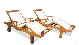 Teak Chaise Lounge with White Sling Fabric, adjustable back, knee bend and tray