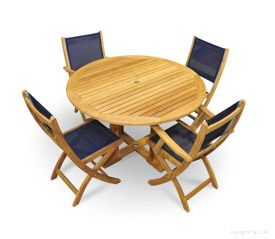 Teak Patio Dining Set for 4 Round Table Navy Sling Folding Chairs
