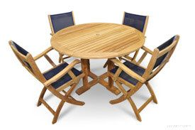 Teak Patio Set - Round Table 4 Teak and Mesh folding Chairs
