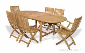 Teak Dining Set Oval Ext Table and 6 Providence Chairs