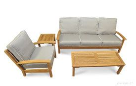 Teak Deep Seating Conversation Set with Sofa, Club Chair and Mission Coffee Table and End Table