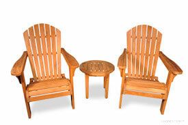 Teak Adirondack Chair Pair Set with Round End Table