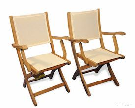 Teak Folding  Providence Chair with Cream Batyline Sling Fabric PAIR