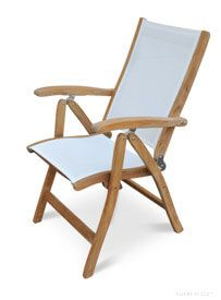 Teak Recliner Chair White Sling Fabric | Goldenteak