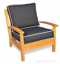 Teak Deep Seating Club Chair, Chappy Collection with Cushion
