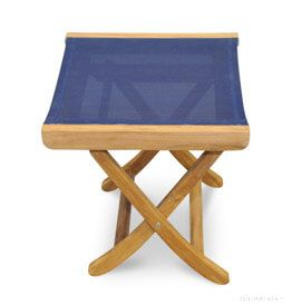 Teak and Sling (Navy) footstool or End Table - Goldenteak
