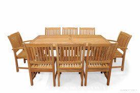 Teak Patio Dining Set for 8 Rectangular Table 8 Millbrook Chairs | Premium Teak