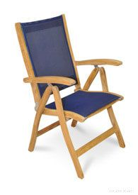 Teak Recliner with Sling Fabric Navy