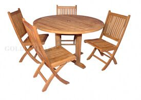 Teak Outdoor Dining Set Padua 48 in round Table, 4 Rockport Side Chairs