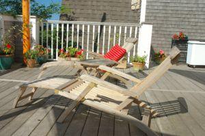 Goldenteak Steamer Chairs, Chaise lounges at Winnetu Inn, Martha's Vineyard, MA